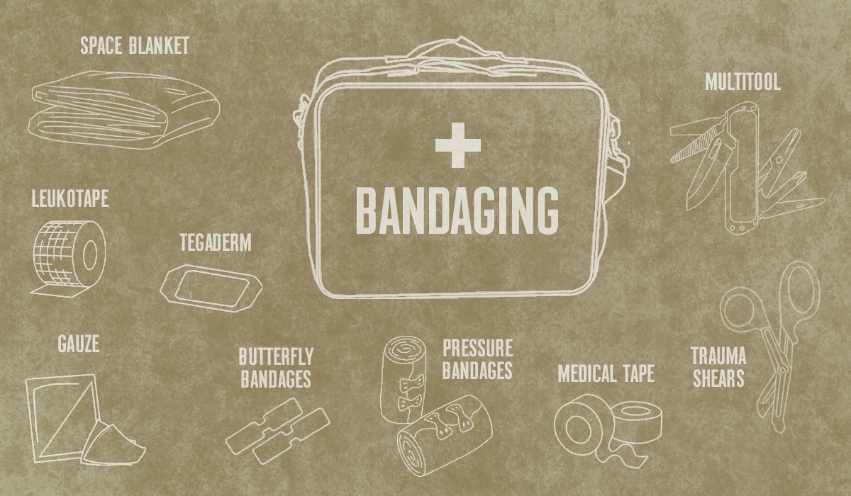 Bandaging materials in a first-aid kit for hunters, from onX Hunt.