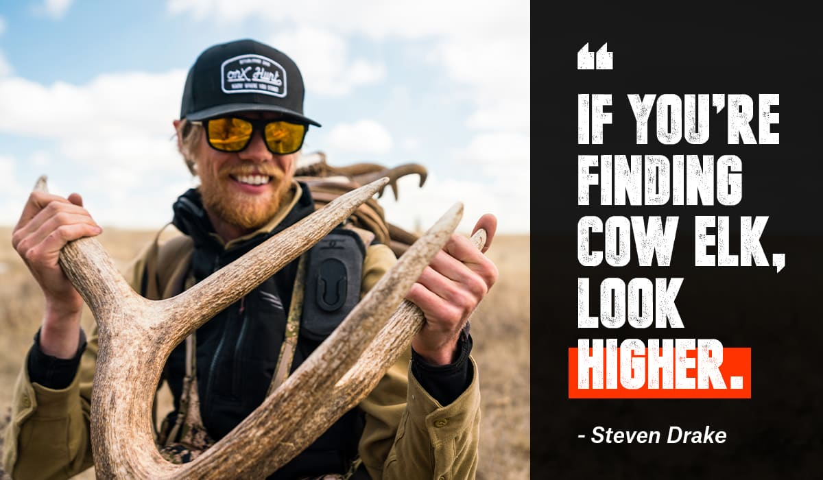 Steven Drake with shed antlers, talking about where to look to find sheds