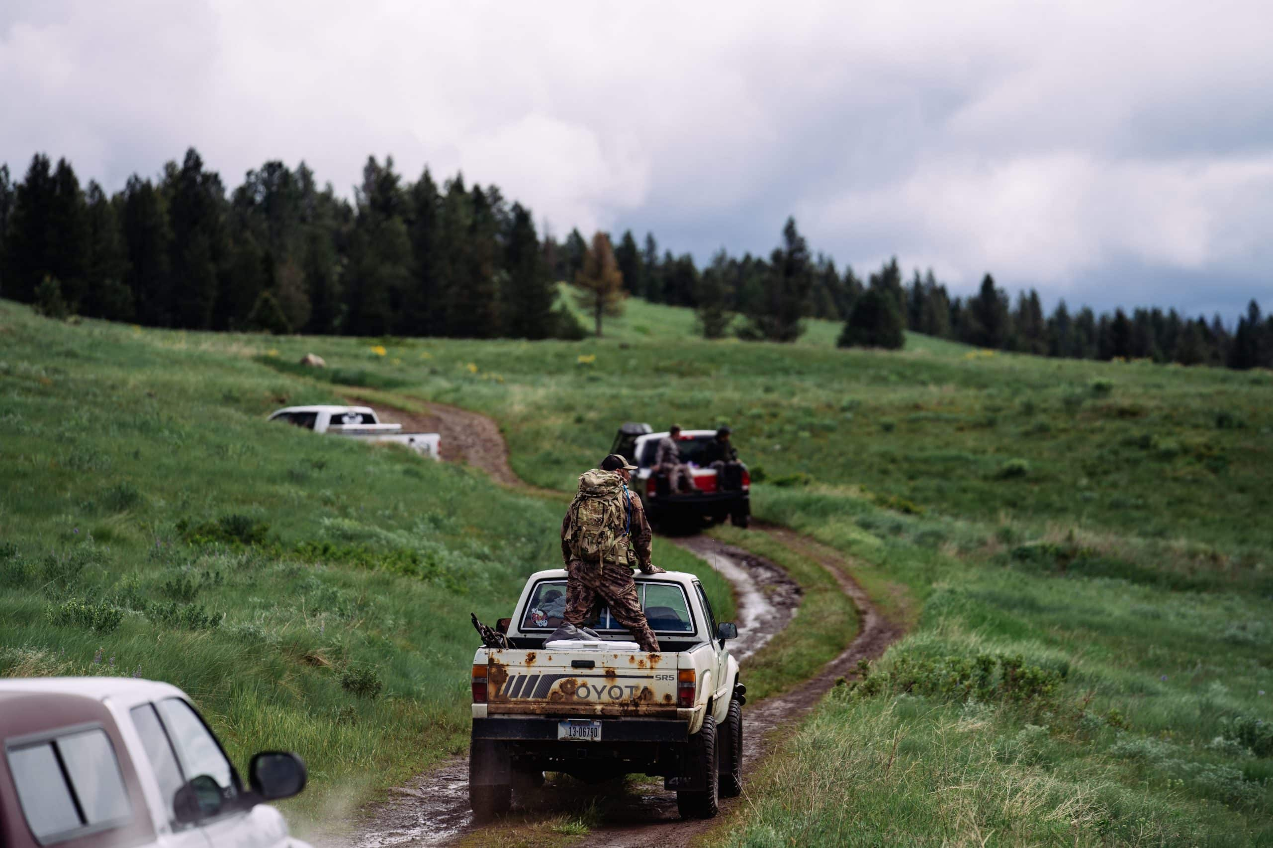 The muddy road leading deeper into the Blackfoot-Clearwater Game Range in Montana.