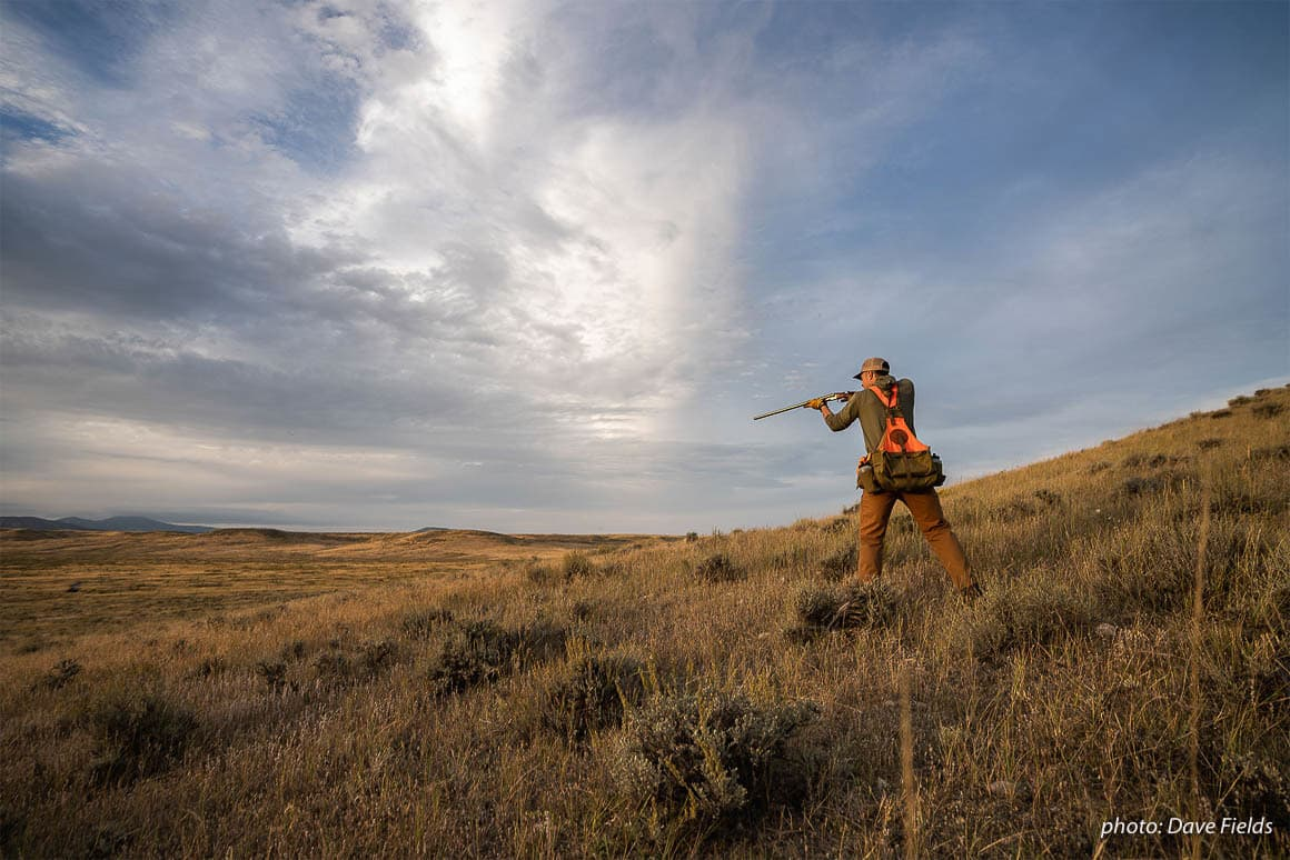 Nick Larson takes aim with his shotgun while upland bird hunting in eastern Montana.