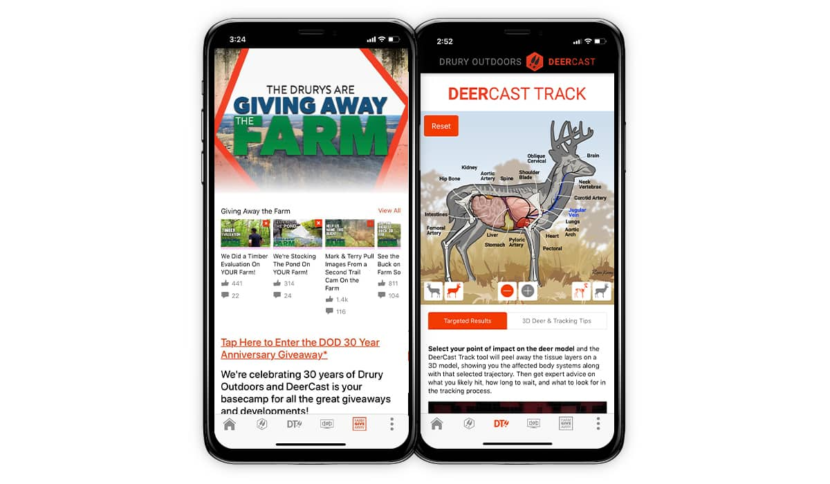 Screenshot of the DeerCast App by Drury Outdoors.