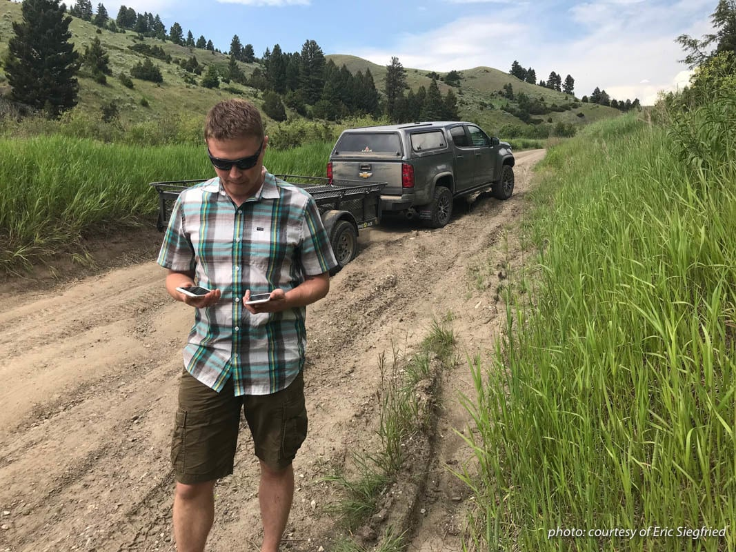 onX Founder Eric Siegfried tests cell phone battery usage in the field.