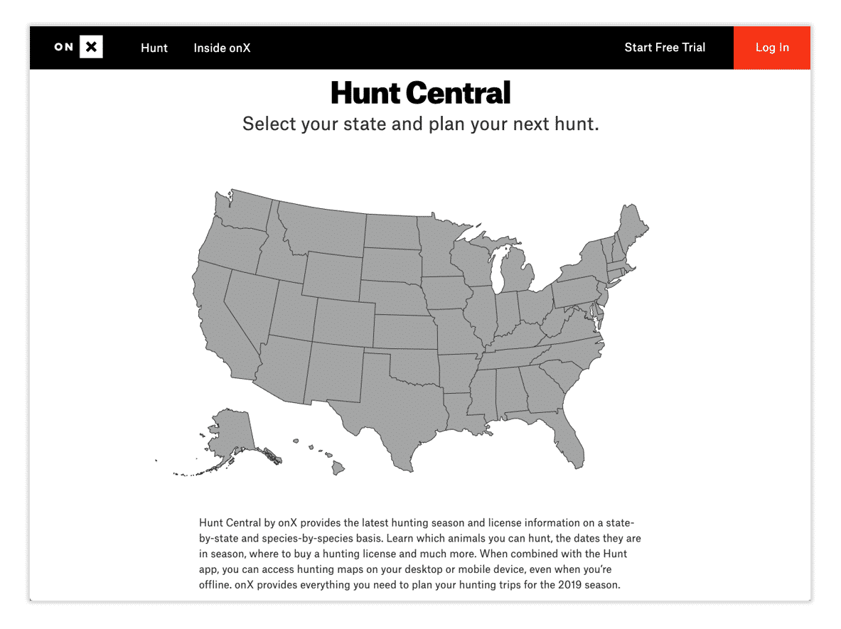 Screenshot of Hunt Central, a new online tool from onX Hunt.