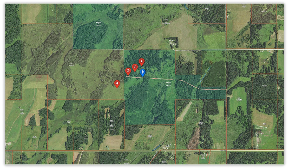The onX Hunt App can be used to hunt boundary edges of private and public land when hunting whitetail deer.
