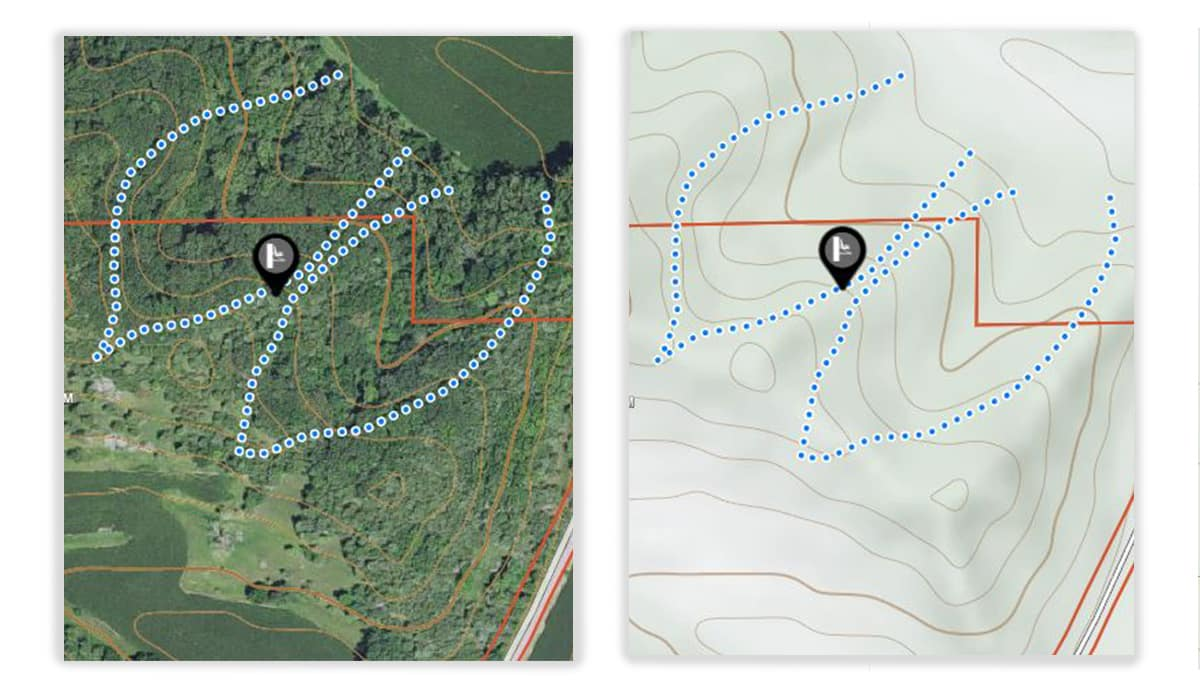 onX Hunt App aerial and topo imagery show where a natural funnel for whitetail deer may help hunting