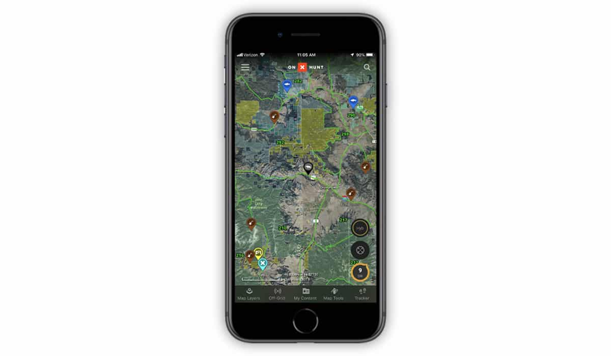 Screenshot of onX Hunt App showing colored / new Waypoints.