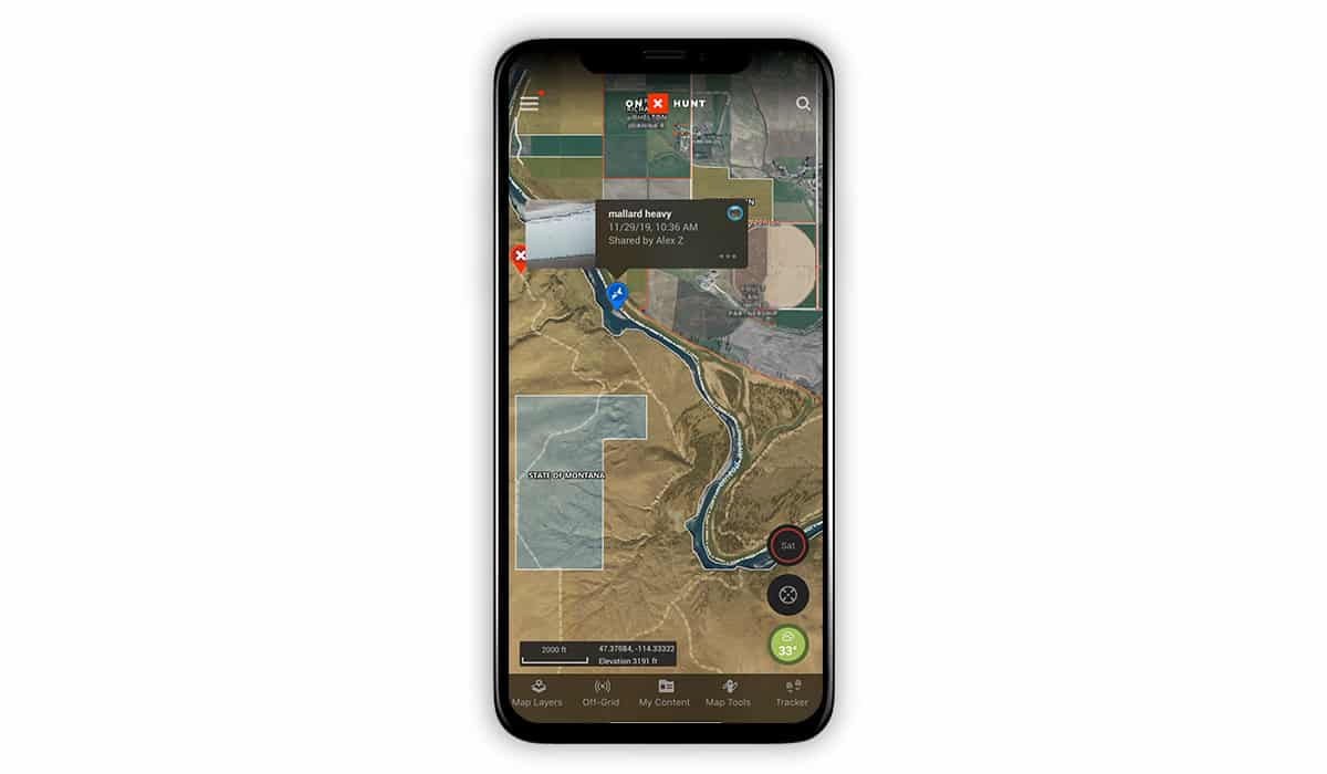 Screenshot of the onX Hunt App with Waypoints while waterfowl hunting.