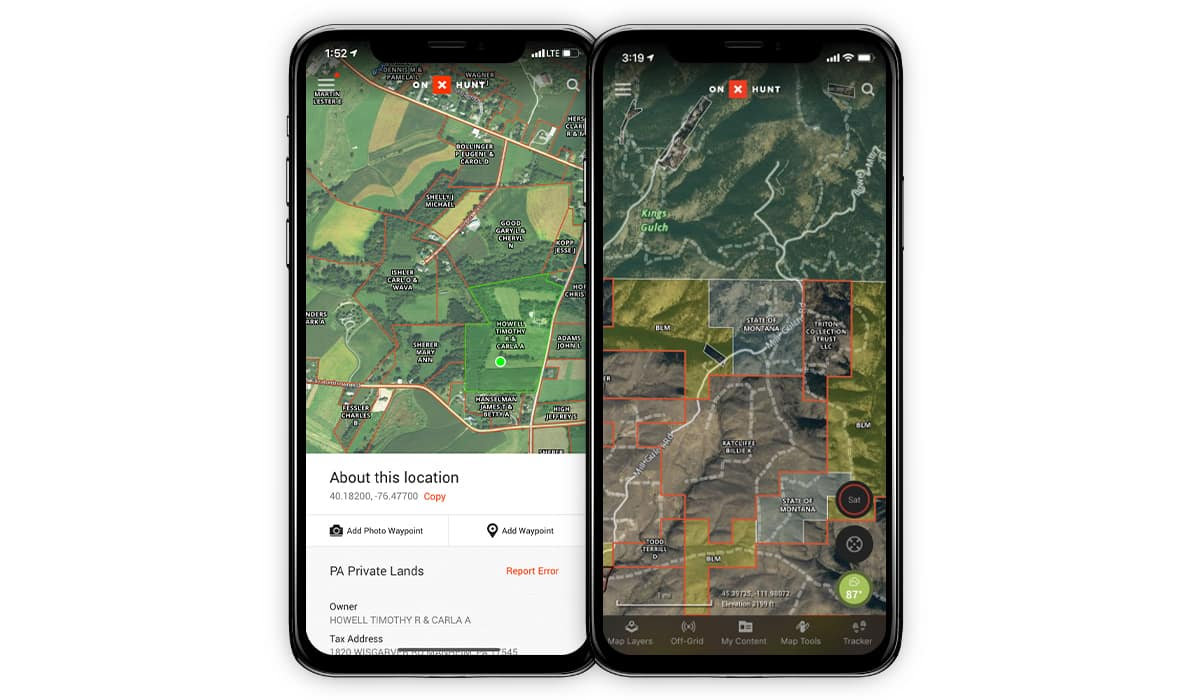 onX Hunt App showing side-by-side devices with public and private land boundaries.