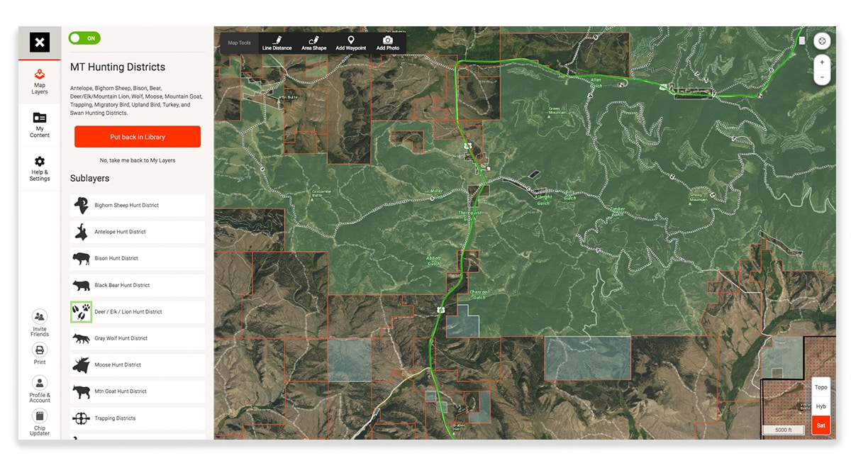 onX Hunt Web Map page showing Montana game management units.