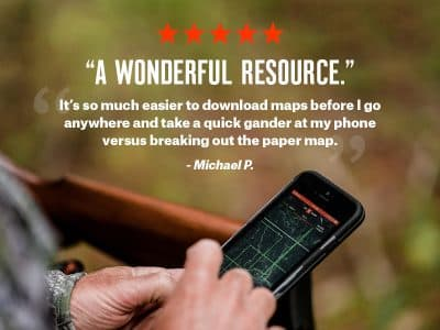 Even when you're off the grid without service, you can access offline topo maps saved in onX Hunt.