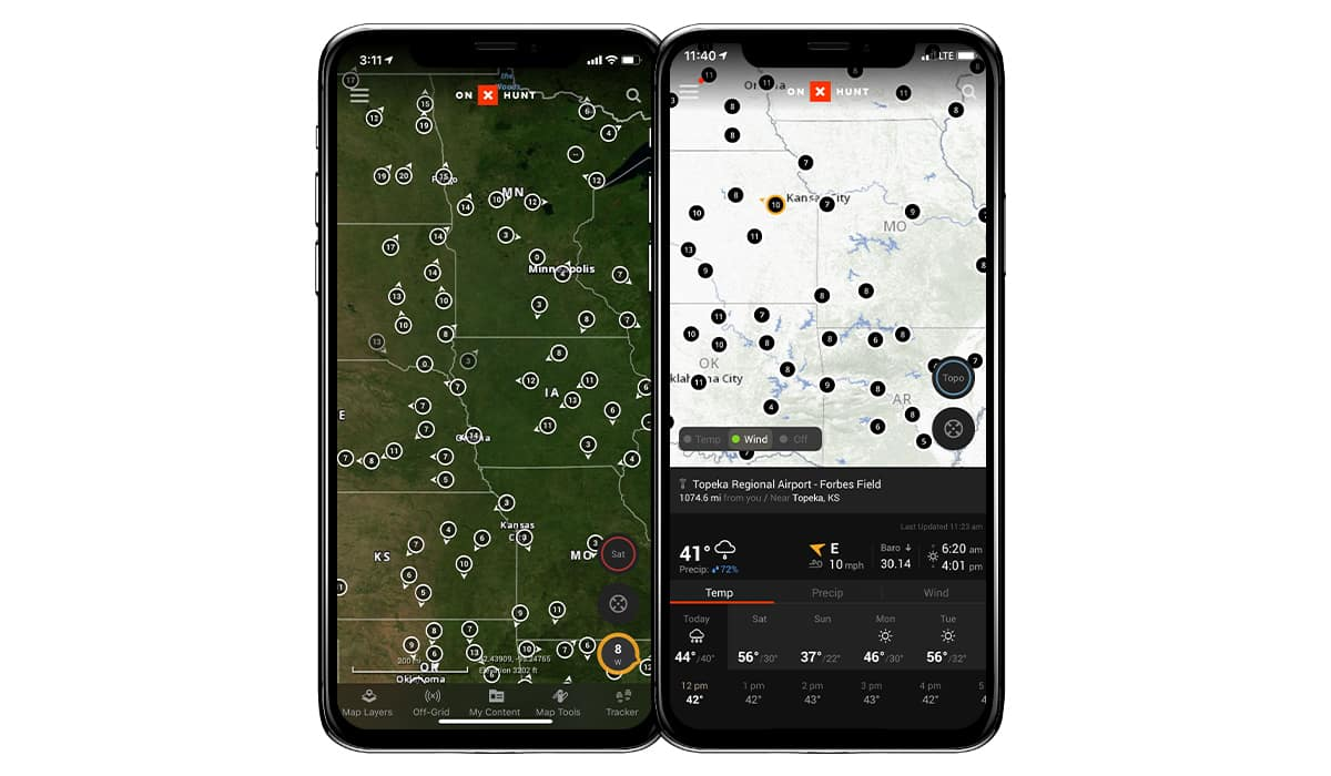 onX Hunt App with additional weather stations from Weather Underground.