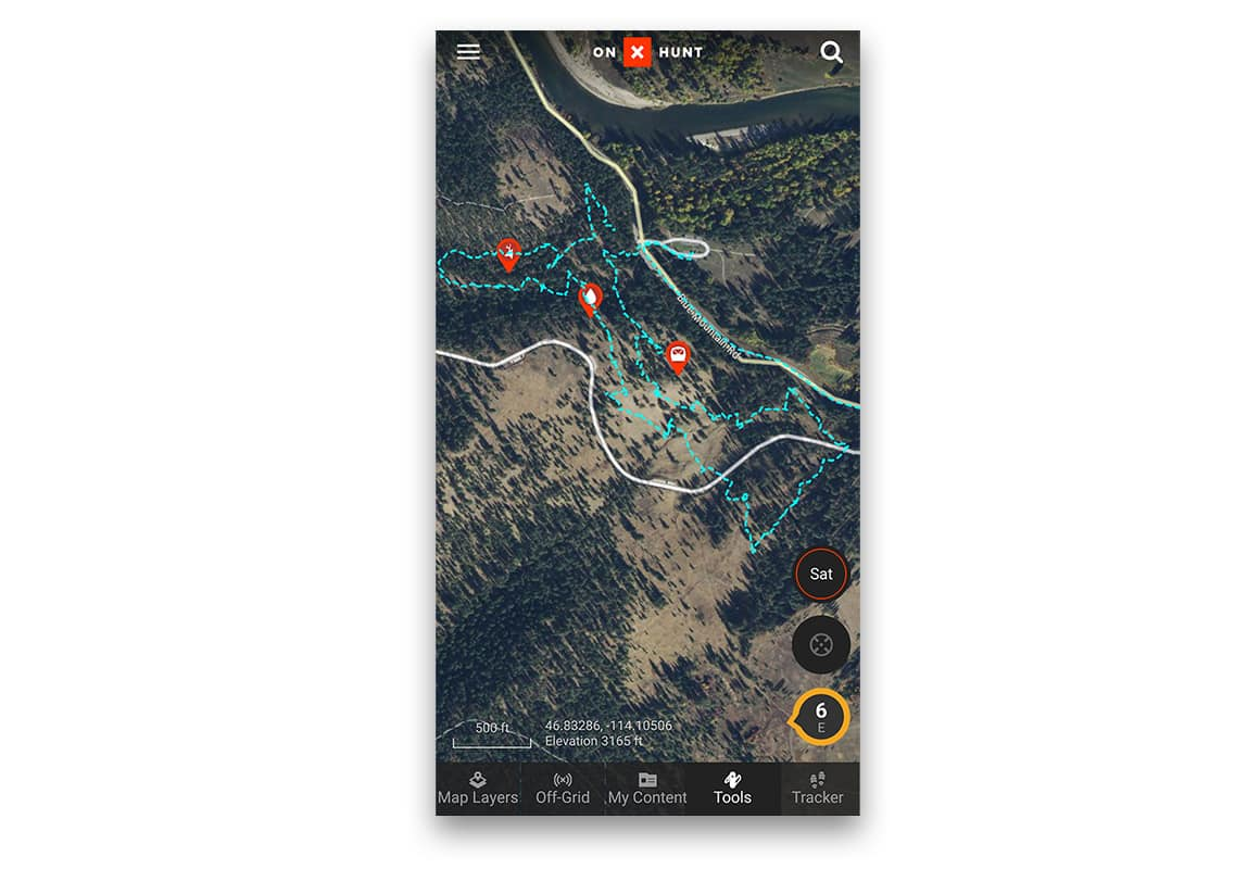 onX Hunt App Showing Waypoints and Tracks