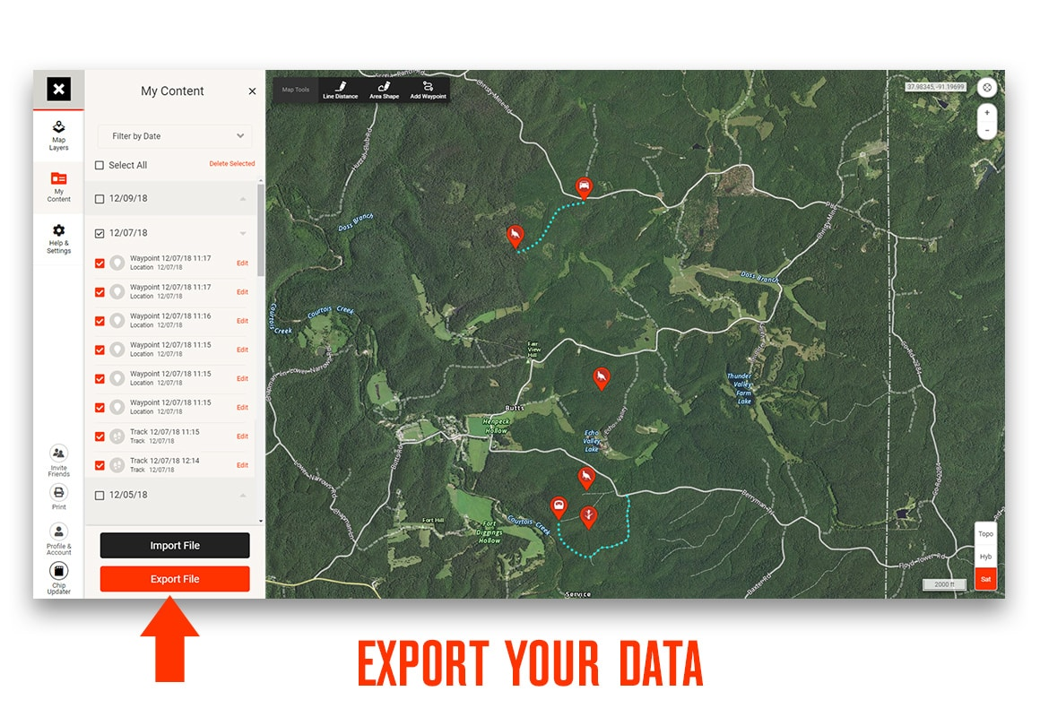 onX Web Map web application with export button called out