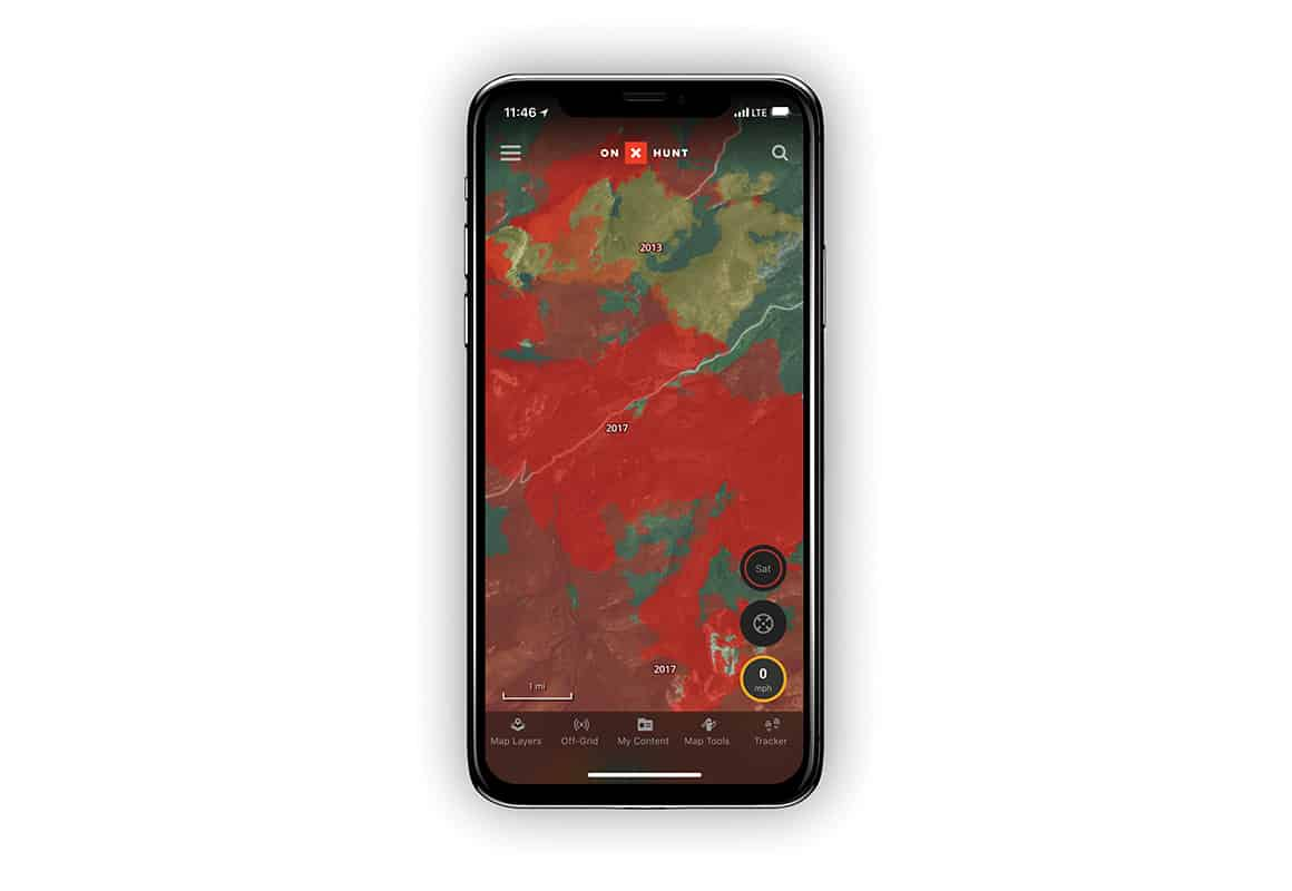 onX Hunt screenshot showing historic wildfire layer.