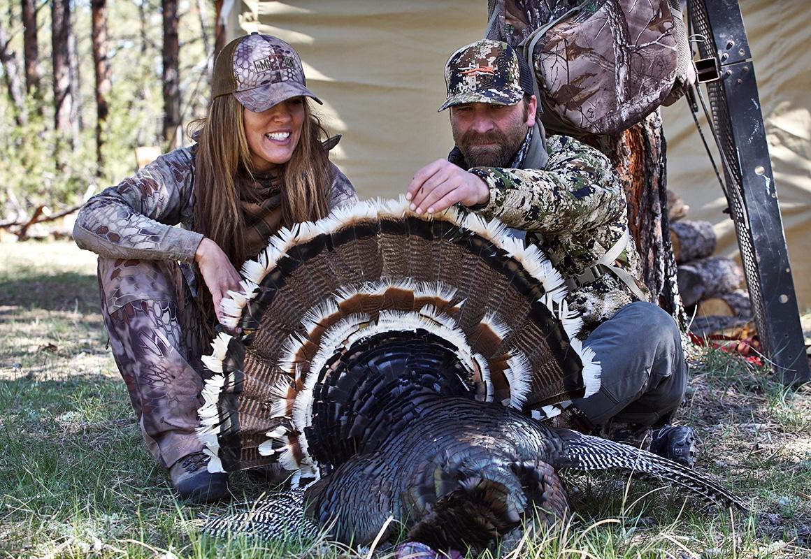 Jason and Jana Waller admiring turkey success
