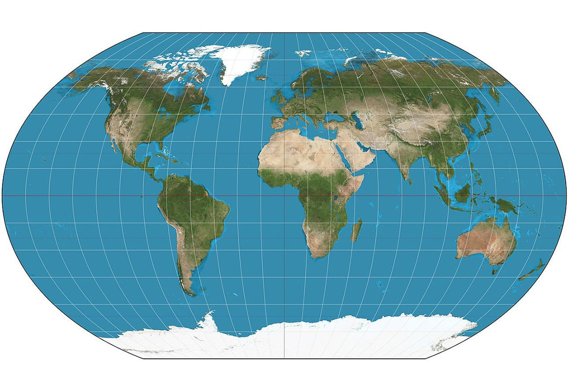 A flat representation of earth with latitude and longitude lines.