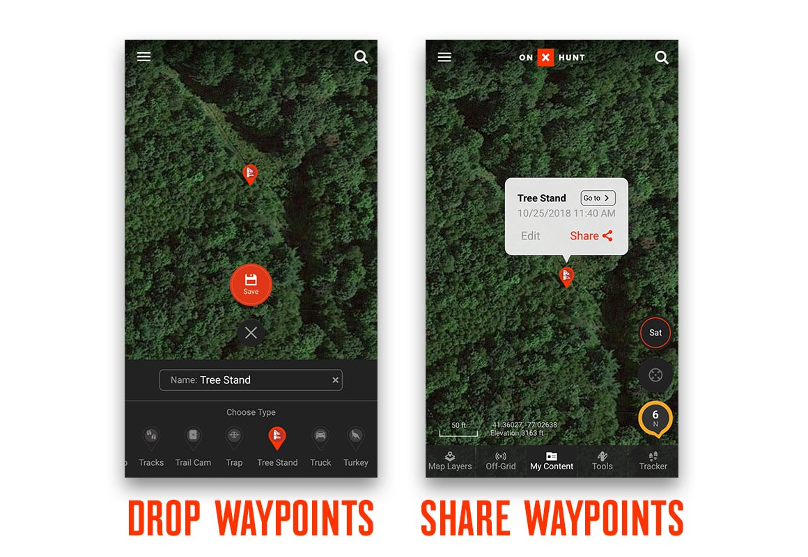 Drop and share Waypoints on a screenshot of onX Hunt App .