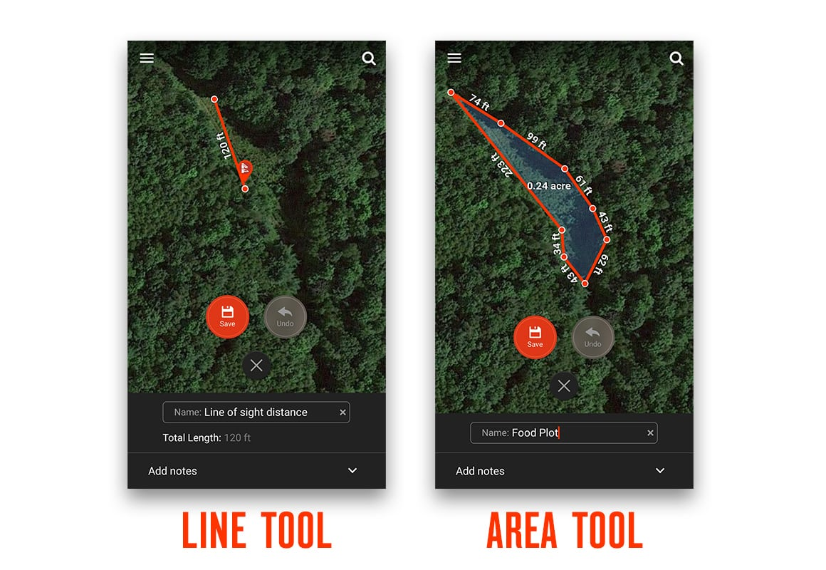 Line and Area Measurement Tools in the onX Hunt App.