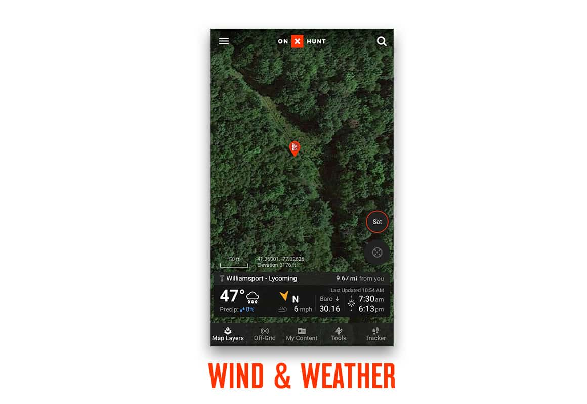 Screenshot of onX Hunt App new Wind & Weather feature.