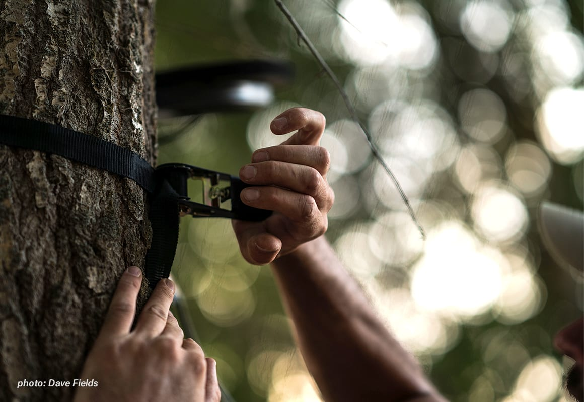 Man securing tree stand into tree with ratchet strap.
