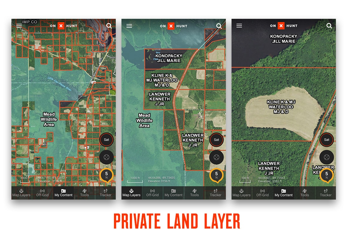 Comparing various zoom levels with onX Hunt's Private Land Layer using screenshots.