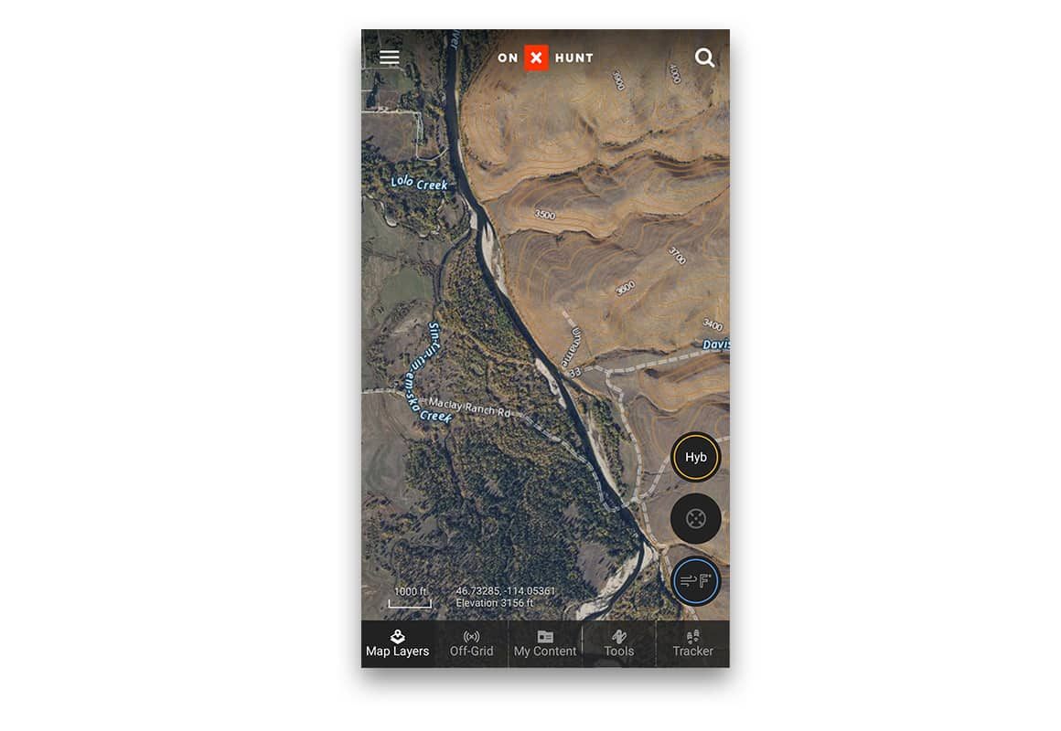 onX Hybrid Basemap - satellite and topo combined