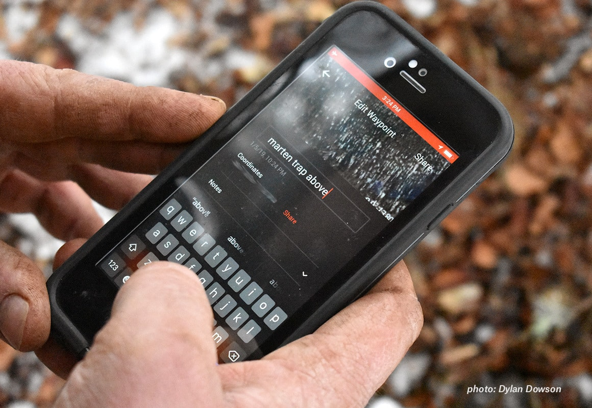 Screenview of the onX Hunt App while setting hunting traps in Montana.