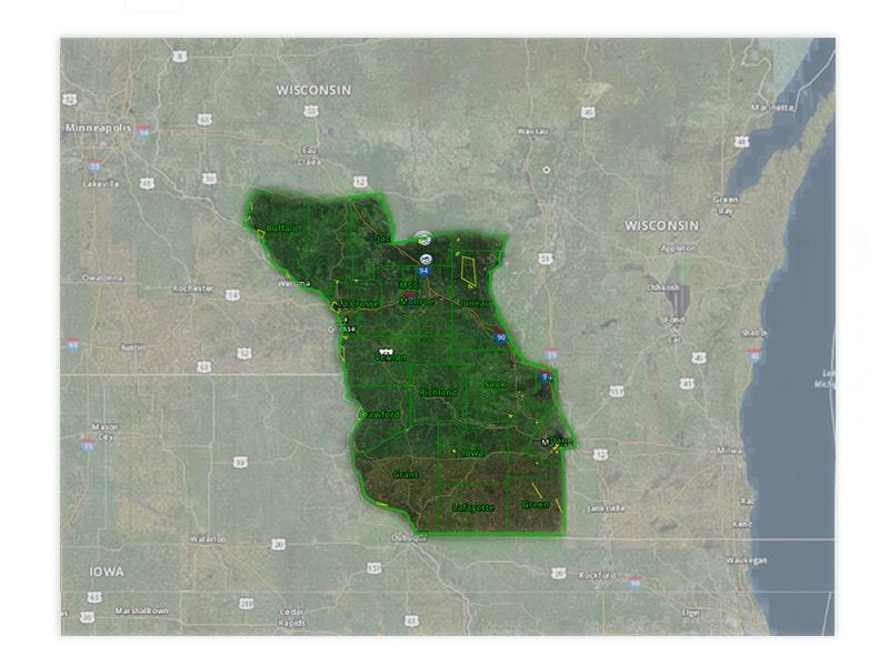 Map of Wisconsin turkey hunt zone 1