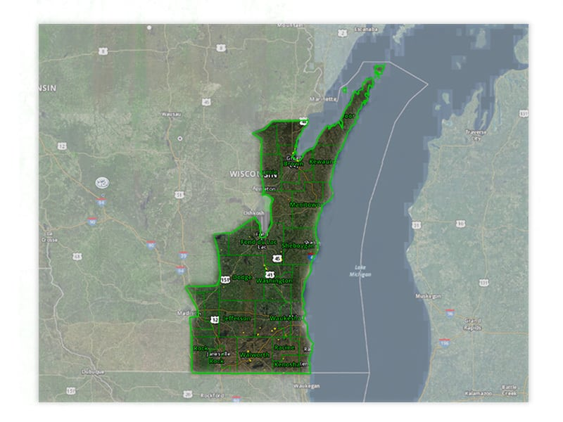 Map of Wisconsin turkey hunt zone 2