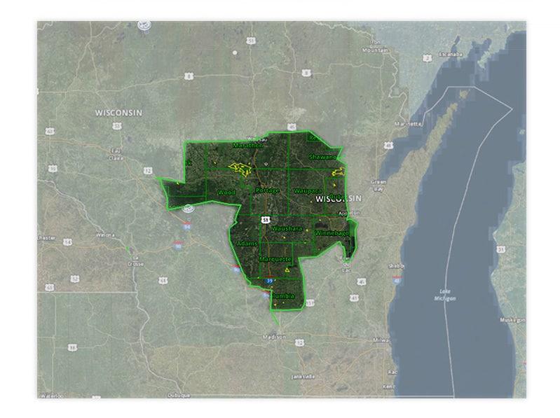 Map of Wisconsin turkey hunt zone 3