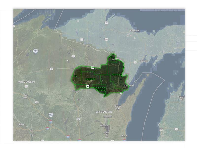 Map of Wisconsin turkey hunt zone 5