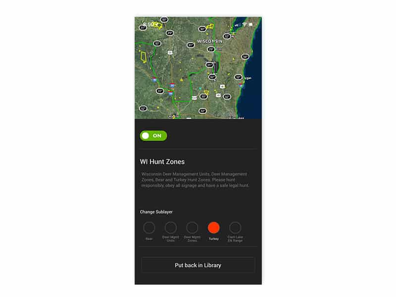 Wisconsin turkey hunt zones layer on the onX Hunt mobile app