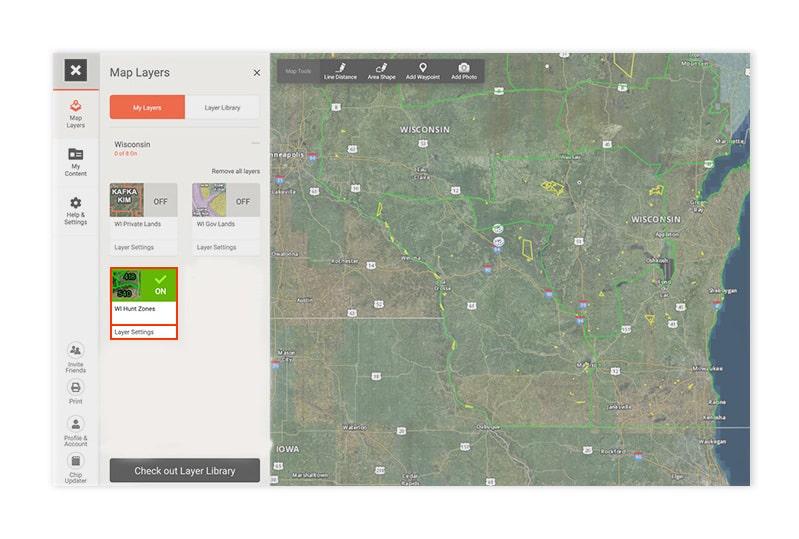 Wisconsin hunt zones layer in the onX Hunt web app