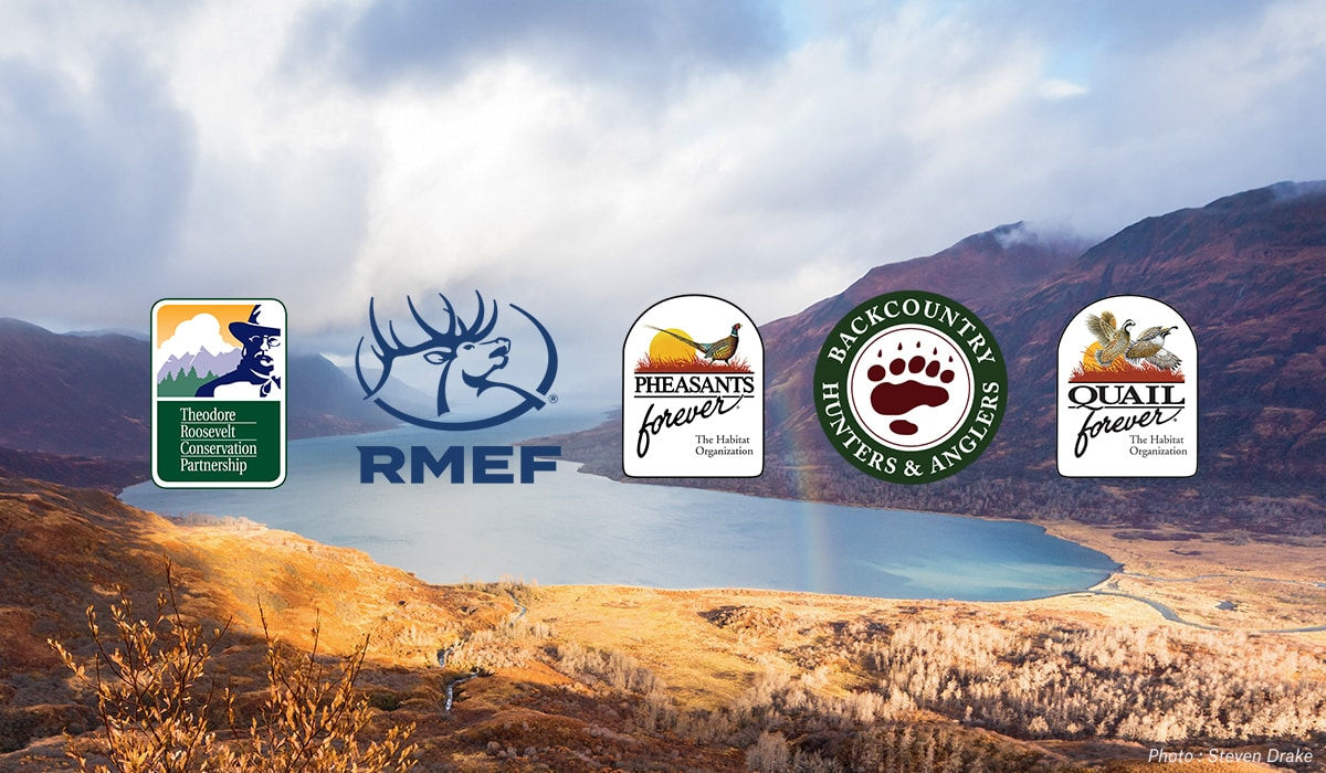 BHA, TRCP, PF, QF and RMEF logos overlaid on a mountain scene.