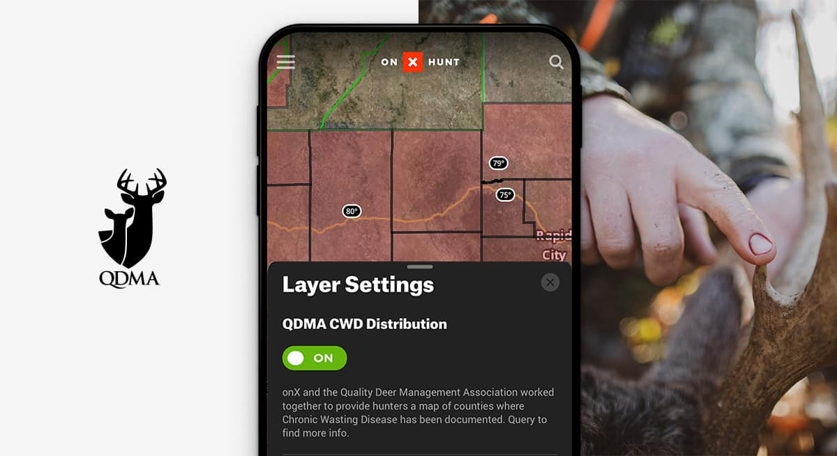 The Quality Deer Management Association Chronic Wasting Disease (CWD) Layer in the onX Hunt App.