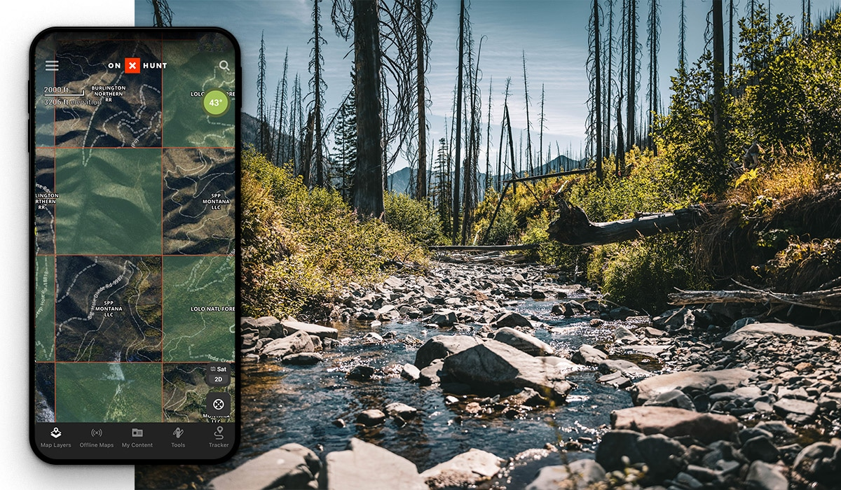 Image of a phone screen showing forest service land boundaries in a checkerboard pattern from the onX hunt app along side a photo of mountain stream in a burned out area.