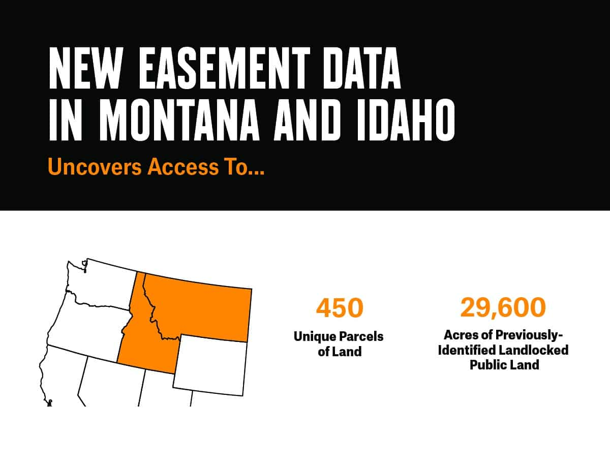 infographic: New easement data in Montana and Idaho uncovers access to 450 unique parcels of land and 29,600 acres or previously-identified landlocked public land.