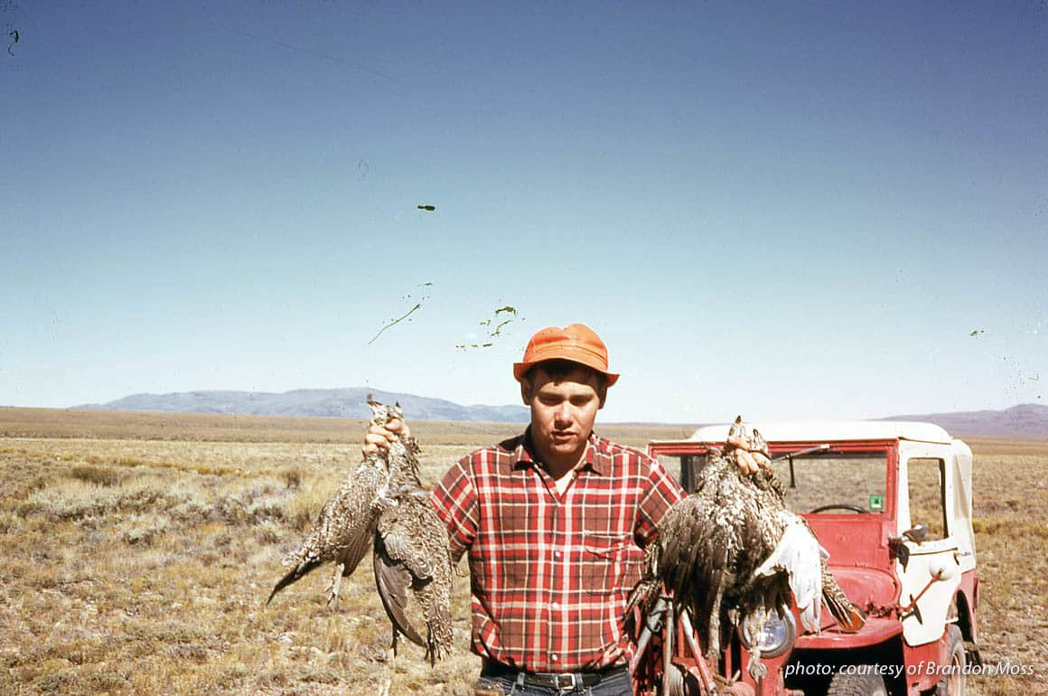 Young man in Montana hunting sage grouse.