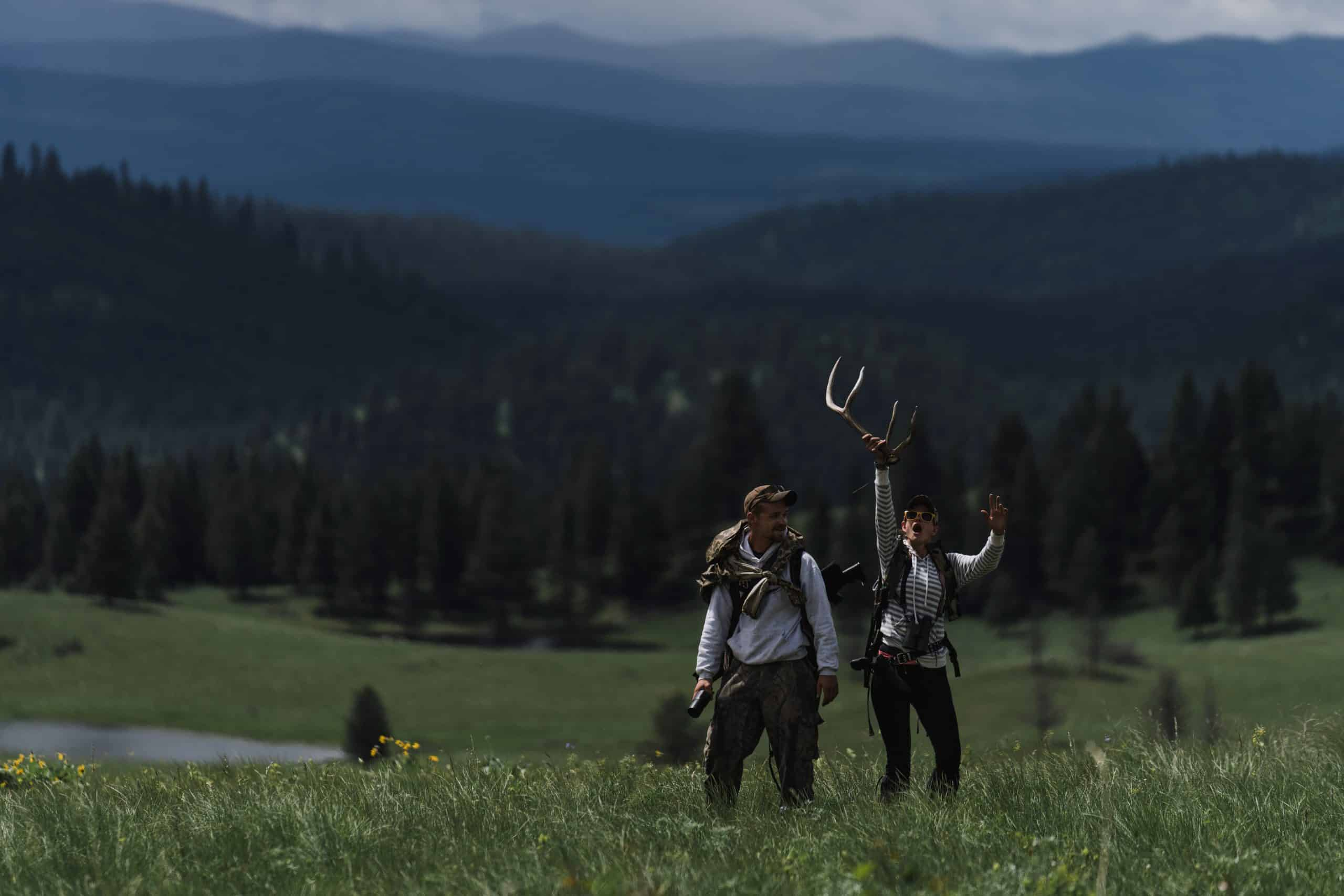 A couple celebrate their first elk shed of the day on the Clearwater WMA