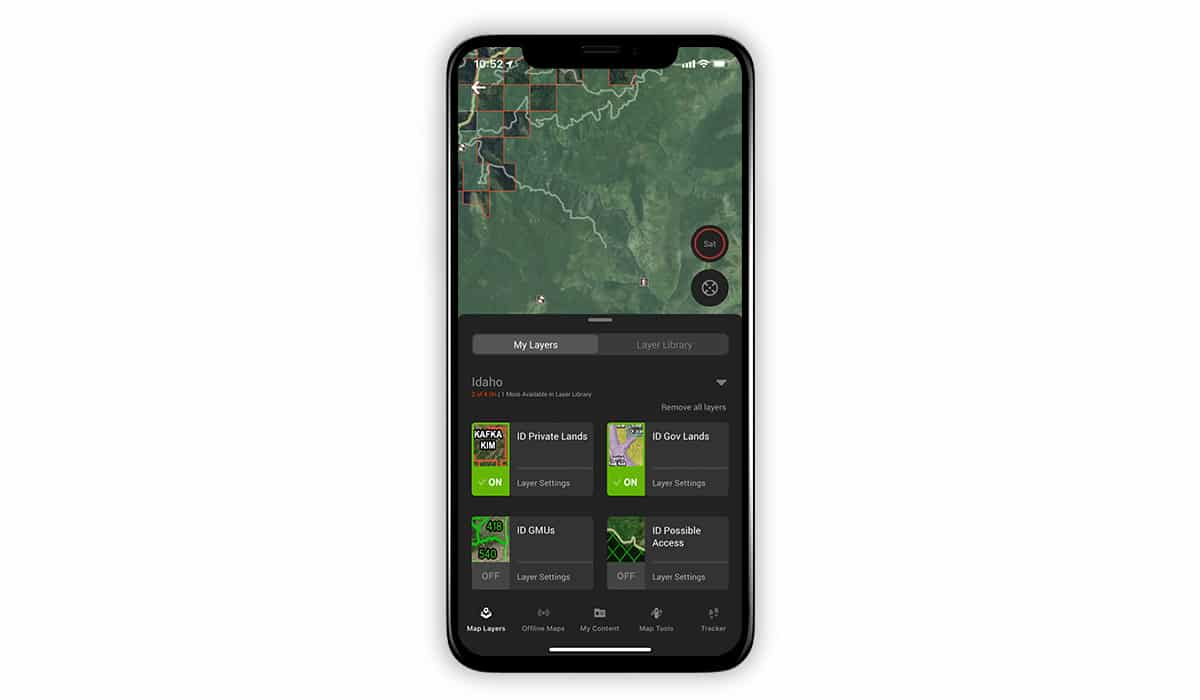 onX Hunt screenshot showing Public and Private Land Layers.