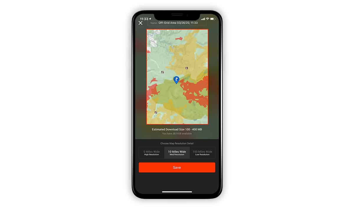 onX Hunt screenshot showing how to download an Offline Map.