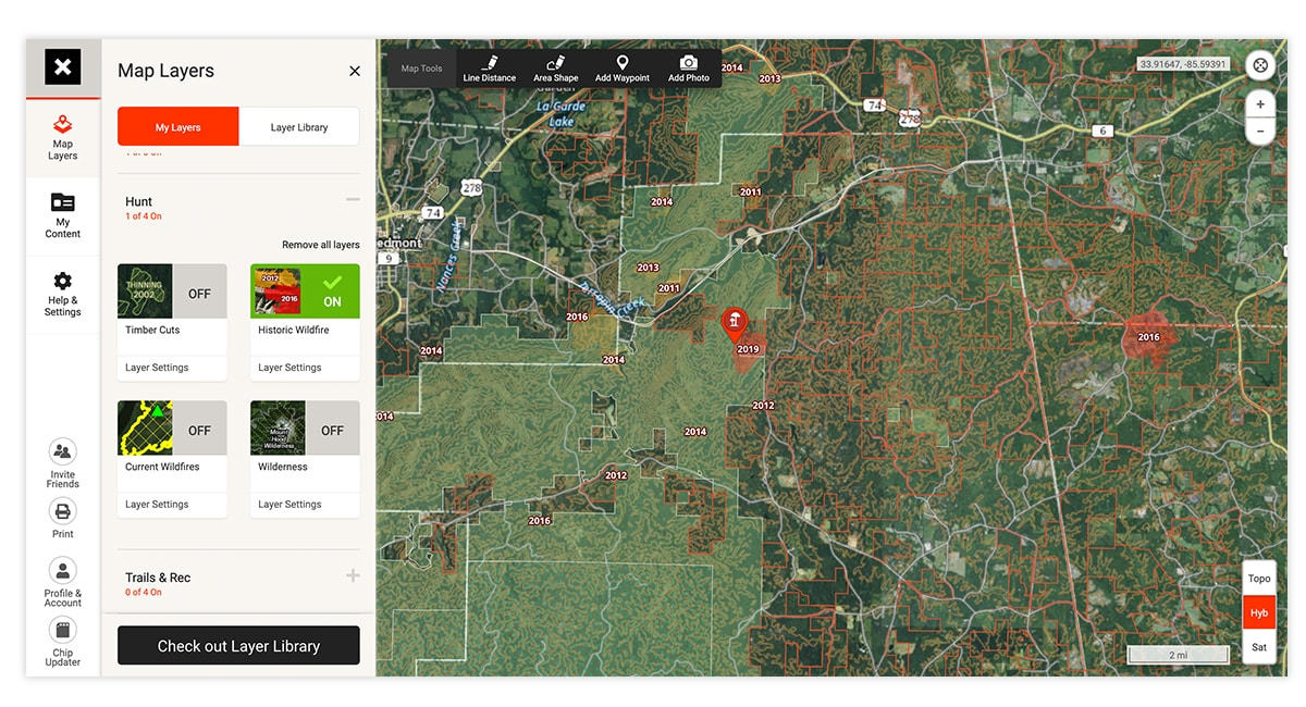 onX Hunt Web Map screenshot showing how to prepare for morel mushroom hunting.