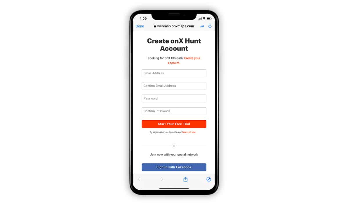 onX Hunt screenshot showing how to create an account on a mobile device.