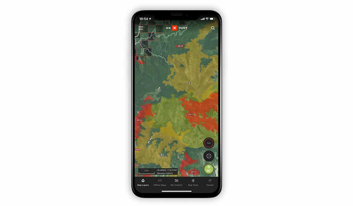 onX Hunt screenshot showing the Historic Wildfire Layer