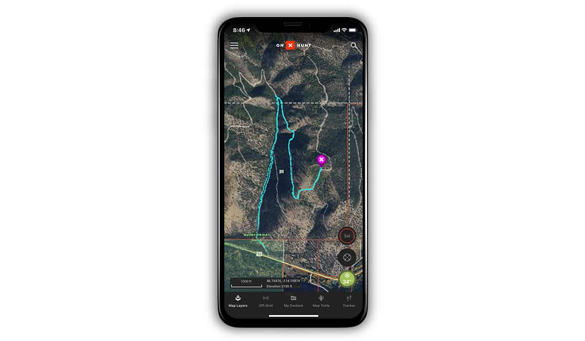 Screenshot of an onX Hunt App Track used to help find Yoda the missing shelter dog.