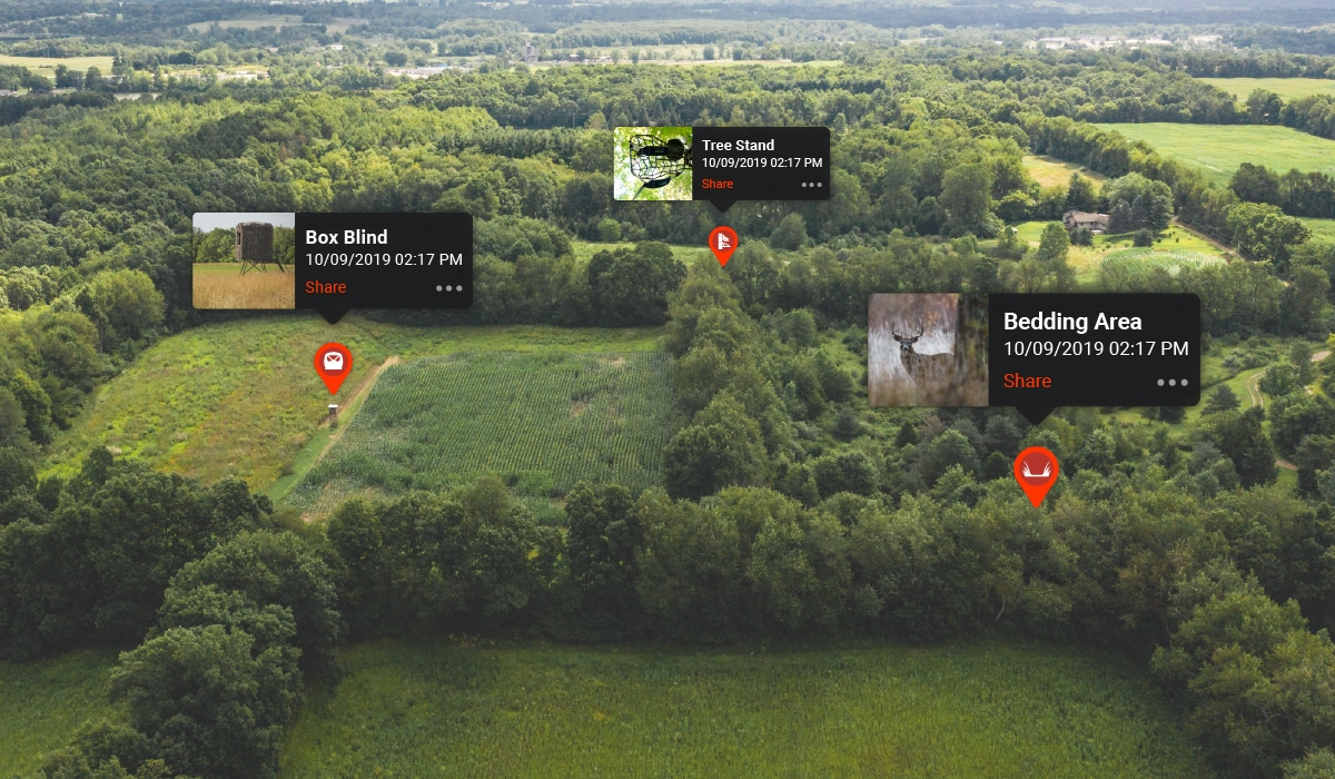 onX Hunt Photo Waypoints shown on a landscape to demonstrate how to use them on a whitetail property.