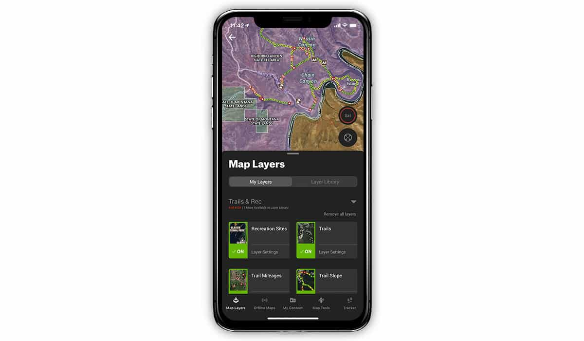 onx Hunt App showing trails features.