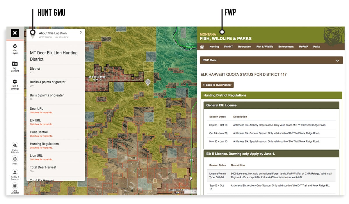 onX Hunt Web Map page with hunting GMU used with Montana FWP web page for application season.