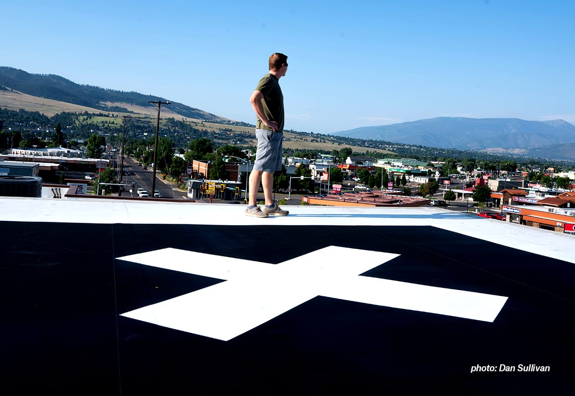 onX Hunt Founder Eric Siegfried stands on the roof of the company's Missoula, Montana, office.