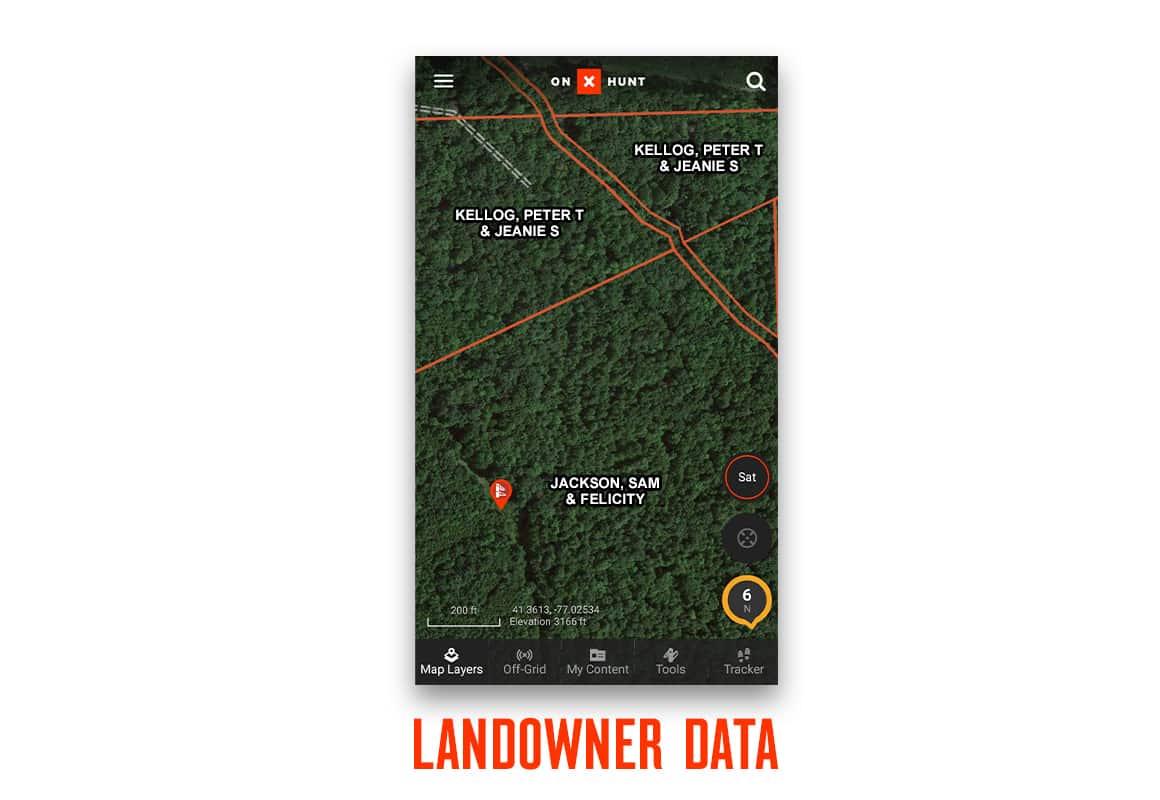 Screenshot of onX Hunt App private landowner data.